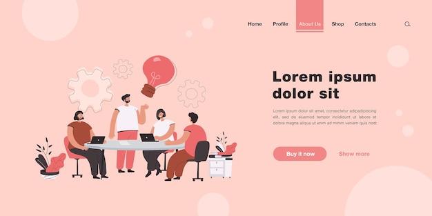 Brainstorming da equipe da empresa na página de destino da reunião em estilo simples