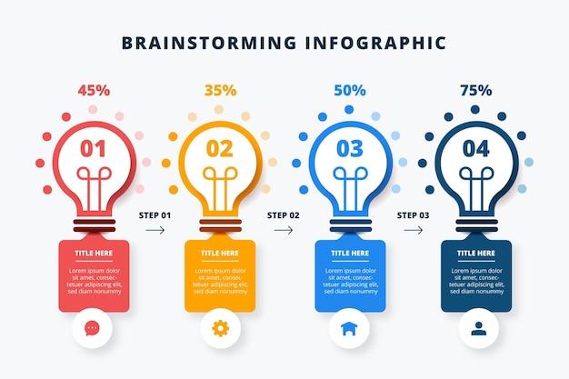 Brainstorming de infográficos em design plano
