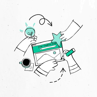 Brainstorming de mão verde desenhada com design de arte doodle