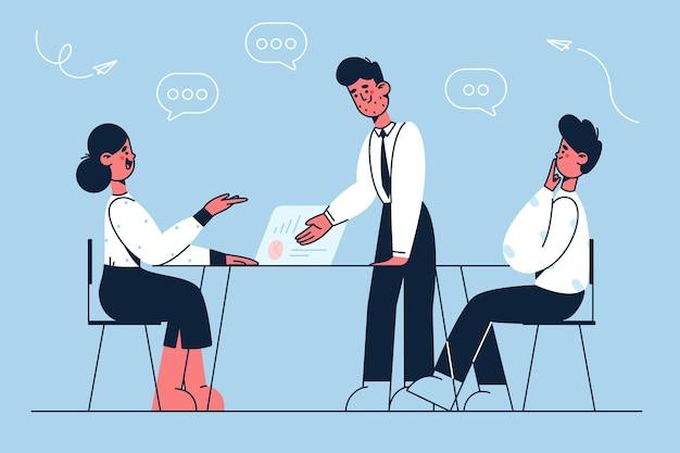 Brainstorming de parceiros de negócios, ilustração de trabalho em equipe