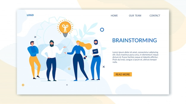 Brainstorming design landing page for business