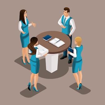 Brainstorming isométrico de funcionários do banco no trabalho para atrair clientes. meninas e homem no escritório