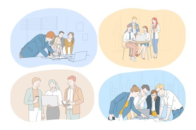 Brainstorming, trabalho em equipe, negócios, escritório, negociações, conceito de colaboração. negócio jovem