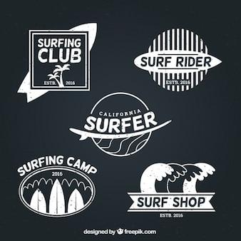 Branca emblemas surfista pacote