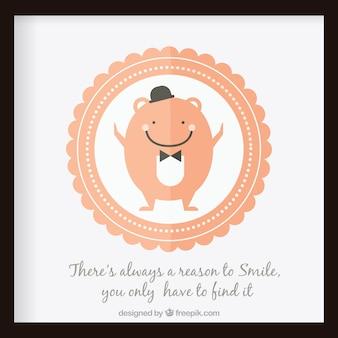 Branco caráter sorrindo com a frase optimista