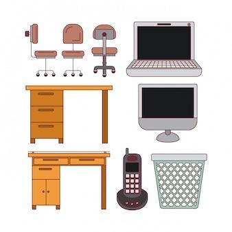 Branco com elementos de tecnologia de silhueta de cor e conjunto de mesa de escritório