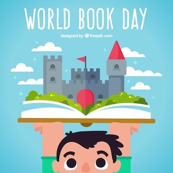 Branco criança com um livro e um castelo