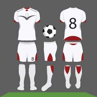 Branco e kit de futebol vermelho