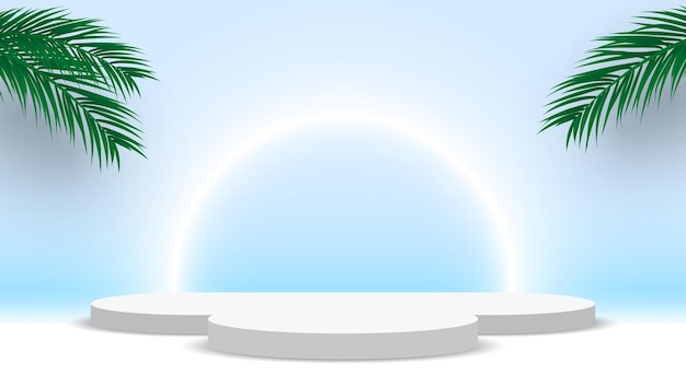 Branco em branco pódio redondo com folhas de palmeira pedestal plataforma de exibição de produtos estande de exposição