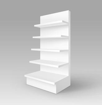 Branco em branco vazio exposição estande de estande de estande com vitrine isolada no fundo