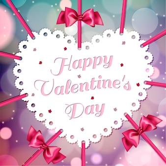 Branco fofo com fitas cor de rosa dia dos namorados em um fundo vermelho brilhante com bokeh