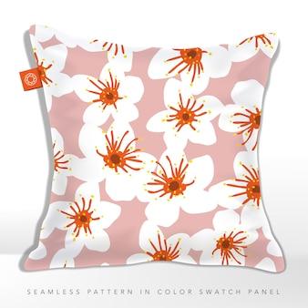 Branco, laranja e rosa padrão floral abstrato moderno sem costura para impressões de tecido e papel de embrulho. ilustração de almofada.