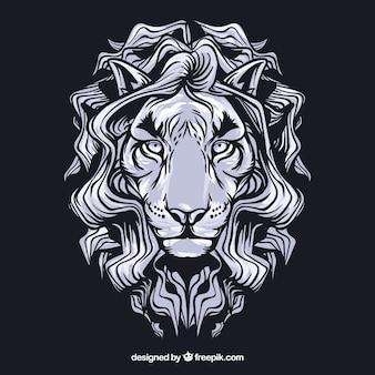 Branco leon rosto vector clip art