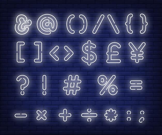 Branco, mensagem, símbolos, sinal néon