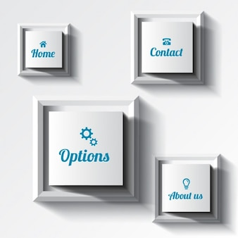 Branco quadrado botões