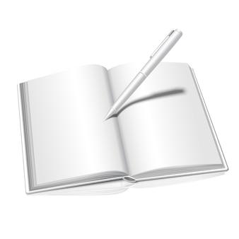 Branco realista isolado no fundo branco com livro aberto reflexo com caneta escrita nele