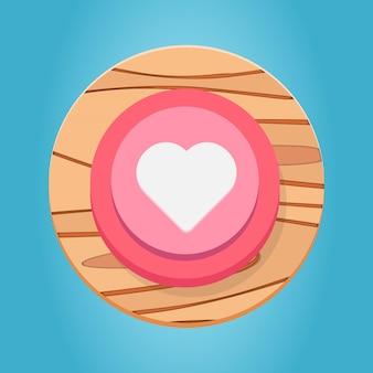 Branco rosa vermelho de madeira botão de coração de desenho animado funy jogo de elementos de interface de botão definir vetor premium
