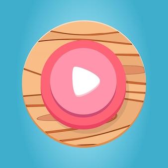Branco rosa vermelho de madeira botão play cartoon funy jogo botão interface elementos definir vetor premium