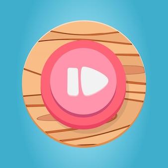 Branco rosa vermelho madeira pausar botão play cartoon jogo botão interface elementos definir vetor premium