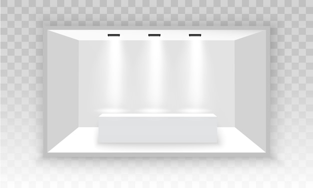 Branco vazio promocional 3d cabine de exposição. podium da cena para apresentações. carrinho de exposição interior vazio branco para apresentação com holofotes sobre o fundo cinza. ilustração, eps