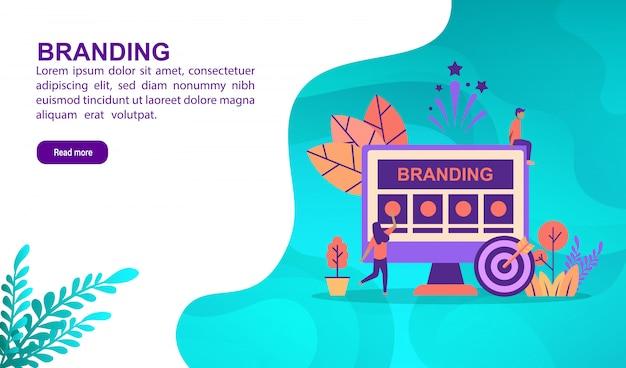 Branding conceito de ilustração com caráter. modelo de página de destino