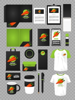 Branding de elementos de maquete de vegetais de cenoura