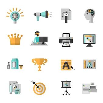 Branding icon flat set