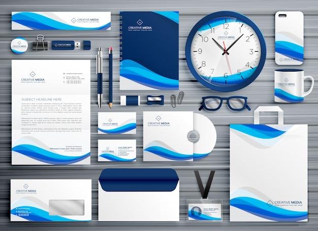 Brans design de papelaria para o seu negócio em estilo de onda azul