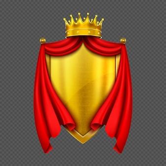 Brasão de armas com coroa e escudo de monarca de ouro