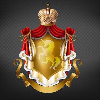 Brasão de ouro real com coroa, escudo com unicórnio, manto vermelho com franjas de pele