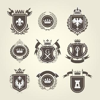 Brasão e brasões de cavaleiro - escudos heráldicos