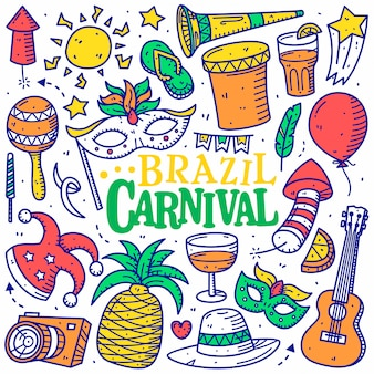 Brasil carnaval doodle mão desenhada estilo