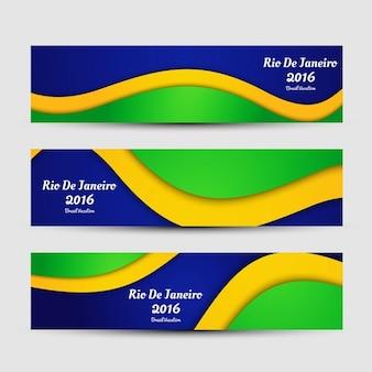 Brasil cor banners brilhantes
