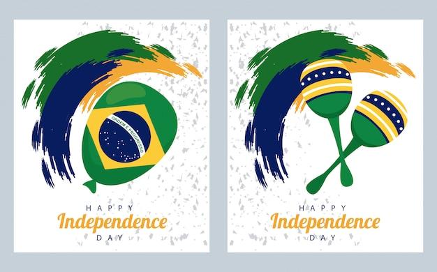 Brasil feliz celebração do dia da independência com balão de hélio e maracas