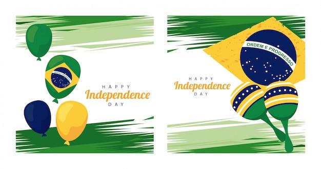 Brasil feliz celebração do dia da independência com balões de hélio e maracas na bandeira