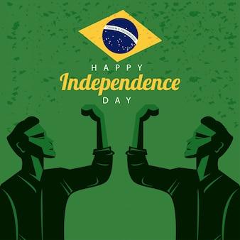 Brasil feliz celebração do dia da independência com bandeira e homens fortes comemorando