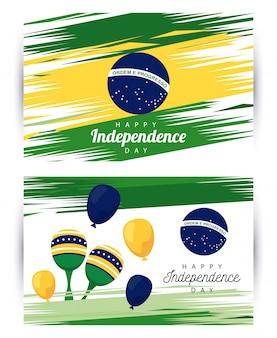 Brasil feliz celebração do dia da independência com bandeira e maracas em balões de hélio