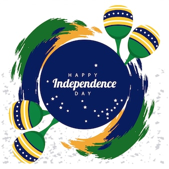 Brasil feliz celebração do dia da independência com bandeira e maracas