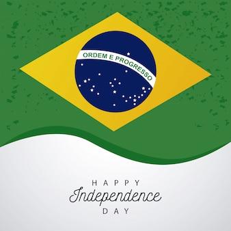 Brasil feliz celebração do dia da independência com bandeira