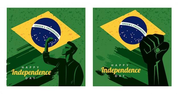 Brasil feliz dia da independência com bandeira e silhueta de homem forte