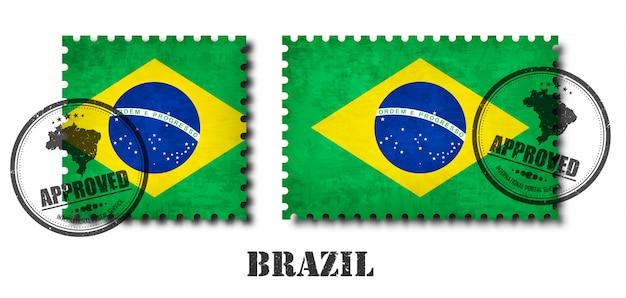 Brasil ou selo de padrão de bandeira brasileira