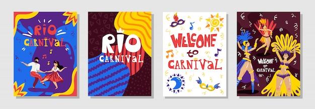 Brasil rio carnaval anúncio 4 cartazes coloridos conjunto com símbolos de música sorrindo dançarinos isolados ilustração vetorial