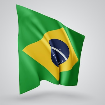 Brasil, vetor bandeira com ondas e curvas balançando ao vento em um fundo branco.