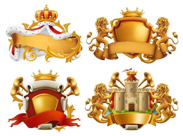 Brasões. rei e reino. conjunto de emblema 3d