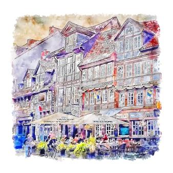 Braunschweig alemanha ilustração em aquarela de esboço desenhado à mão