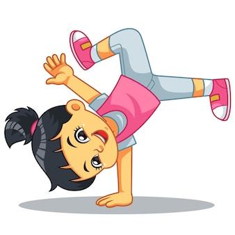 Break dancer girl praticando seus movimentos.