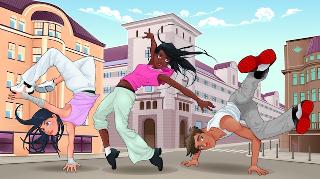 Breakdancers engraçados na ilustração da cidade.