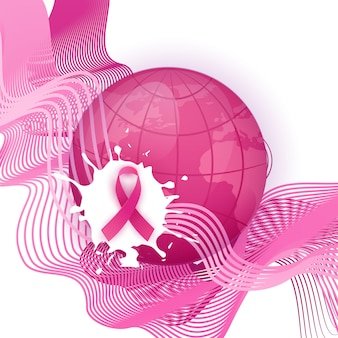 Breast cancer awareness month símbolo de fita rosa