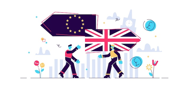 Brexit. plano minúsculo reino unido deixando o conceito de pessoas do referendo da ue. grã-bretanha sai do símbolo de crise de voto da união europeia. resultado da escolha da decisão econômica e política. reforma do eurocepticismo.