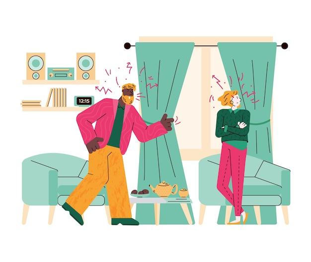 Briga de família de cônjuges ou cena de conflito de casal apaixonado, ilustração plana dos desenhos animados, isolada no fundo branco. homem furioso gritando com mulher jovem.